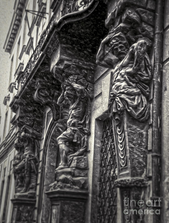 Prague Painting - Prague Caryatids by Gregory Dyer