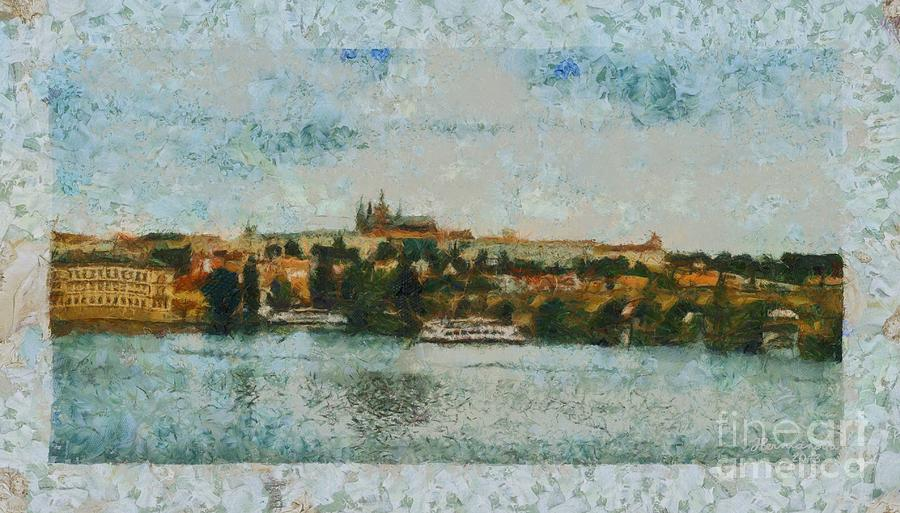 Prague Photograph - Prague Castle Over The River by Dana Hermanova