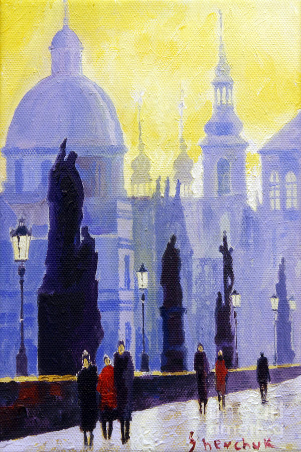 Oil On Canvas Painting - Prague Charles Bridge 03 by Yuriy  Shevchuk