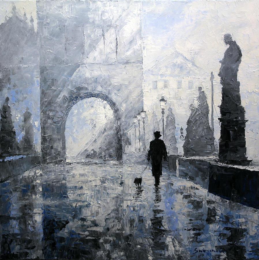 Prague Charles Bridge Morning Walk Painting