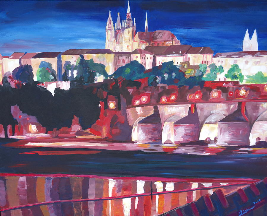 Acryl Painting - Prague - Hradschin With Charles Bridge by M Bleichner
