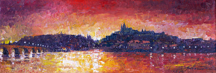 Oil On Canvas Painting - Prague Red Panorama by Yuriy Shevchuk