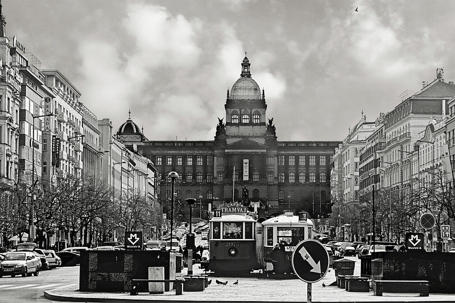 Prague Wenceslas Square And National Museum Photograph  - Prague Wenceslas Square And National Museum Fine Art Print