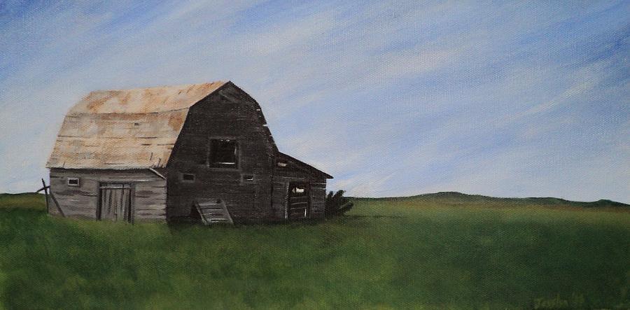 Prairie Painting - Prairie Barn by Jesslyn Fraser