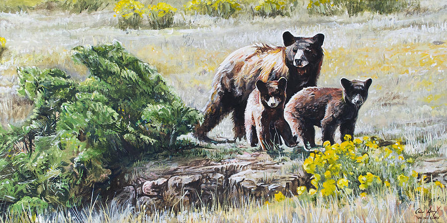 Prairie Black Bears Painting  - Prairie Black Bears Fine Art Print