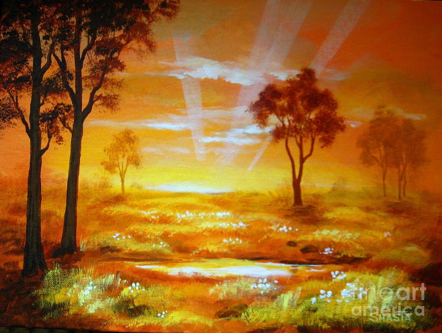 Serenity Landscapes Painting - Prairie  Dawn  by Shasta Eone