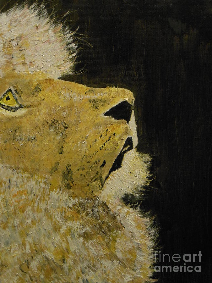 Lion Painting - Prayer Lion by Harold Greer
