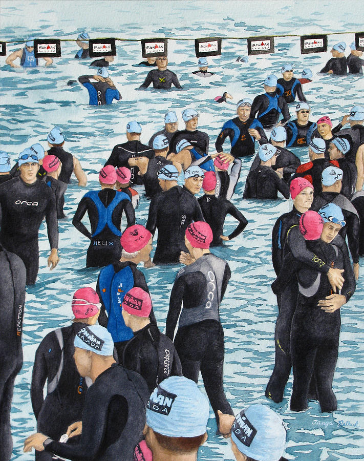 Triathlon Painting - Preparing For The Swim by Tanya Petruk