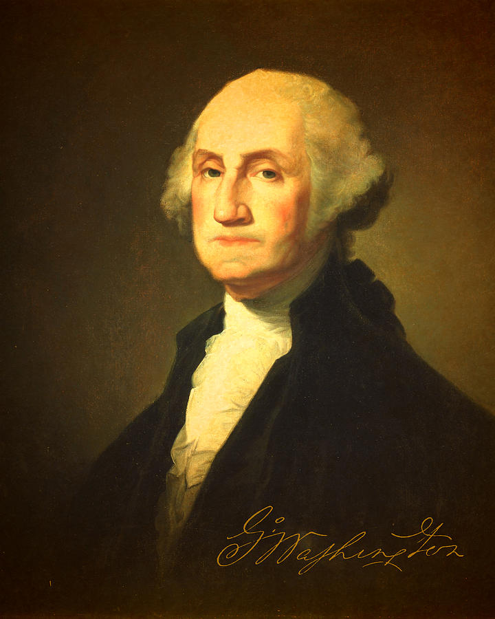 President George Washington Portrait And Signature Mixed Media  - President George Washington Portrait And Signature Fine Art Print