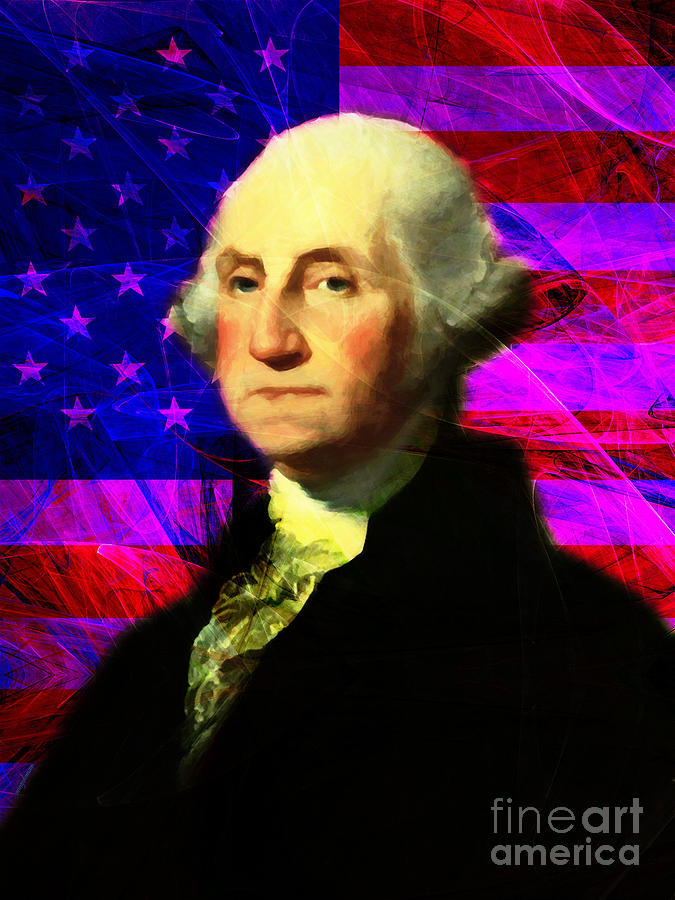 Celebrity Photograph - President George Washington V2 M123 by Wingsdomain Art and Photography