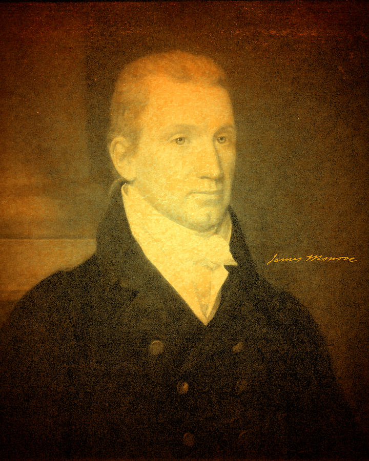President James Monroe Portrait And Signature Mixed Media