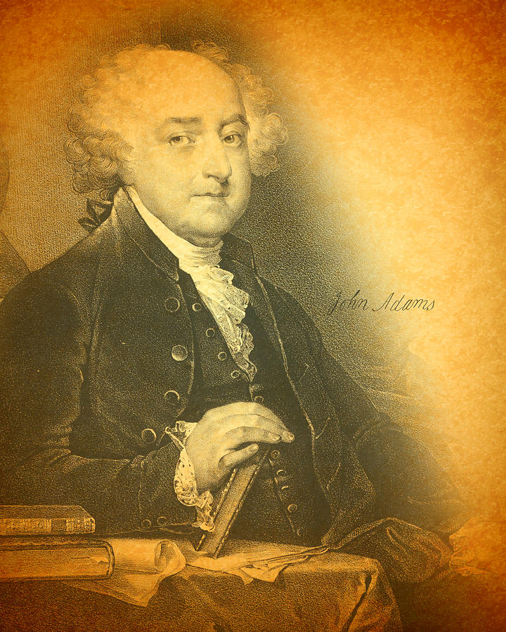 President John Adams Portrait And Signature Mixed Media