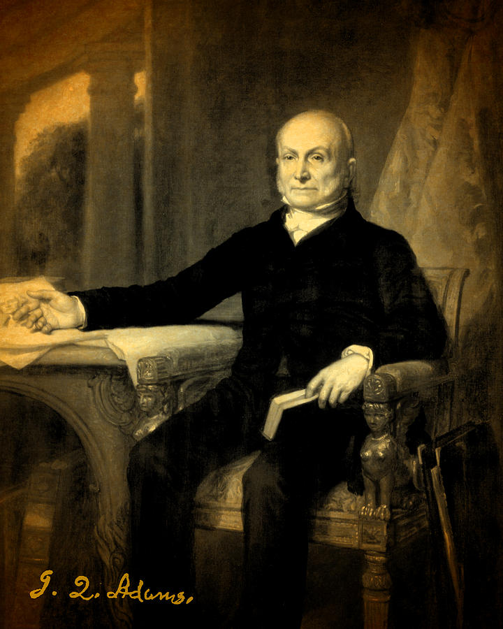 President John Quincy Adams Portrait And Signature Mixed Media