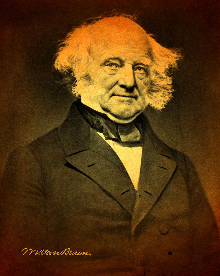 President Martin Van Buren Portrait And Signature Mixed Media
