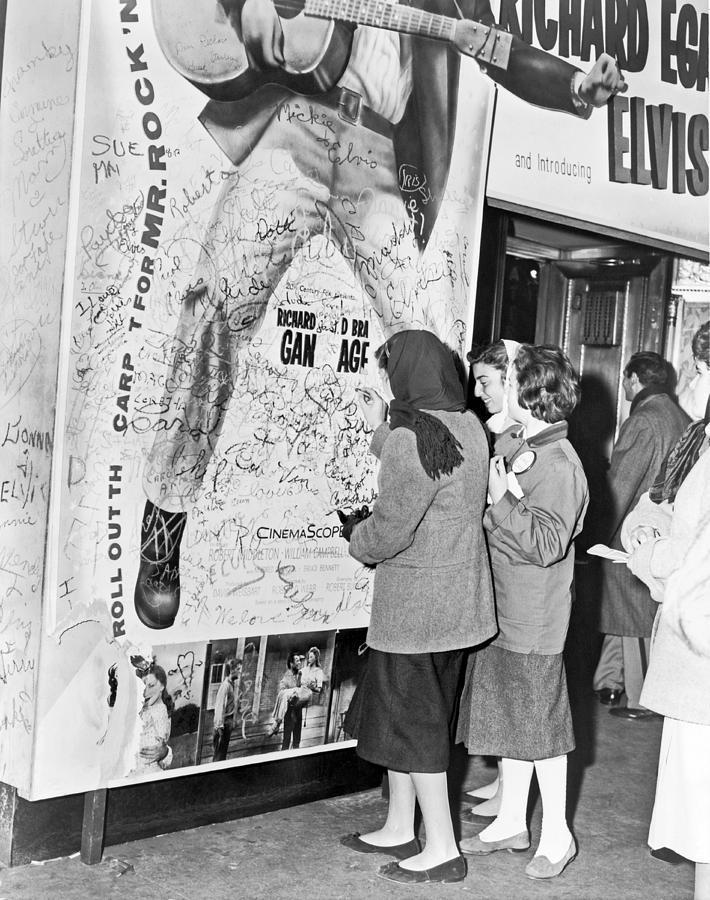 1956 Photograph - Presley Poster Grafitti by Underwood Archives
