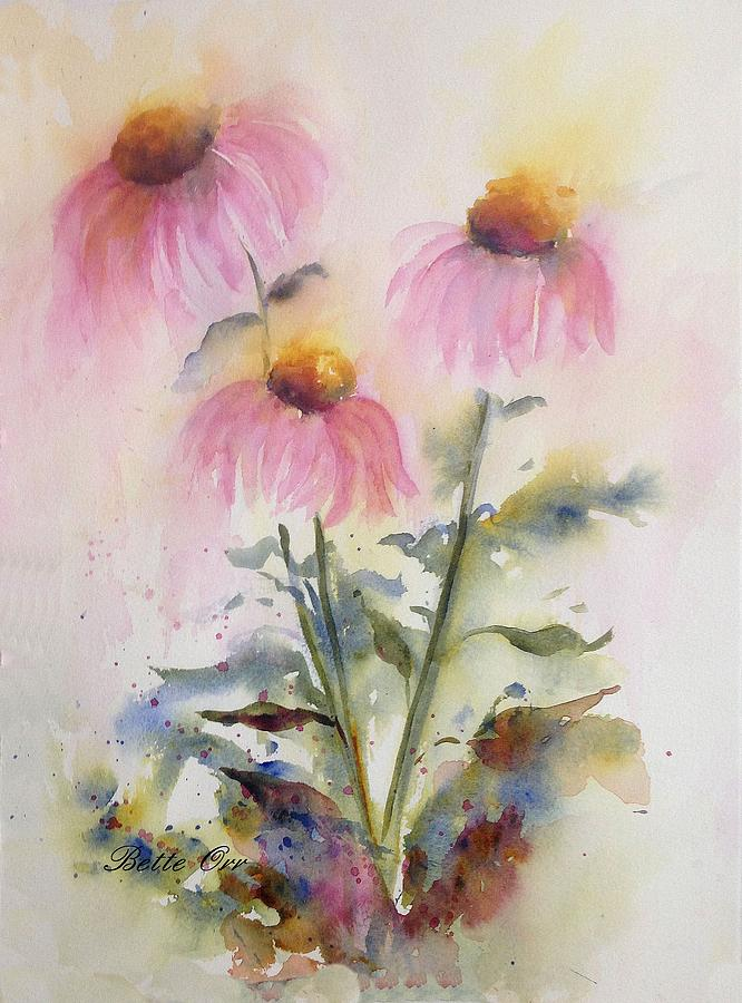 Coneflower Painting - Pretty Coneflowers by Bette Orr