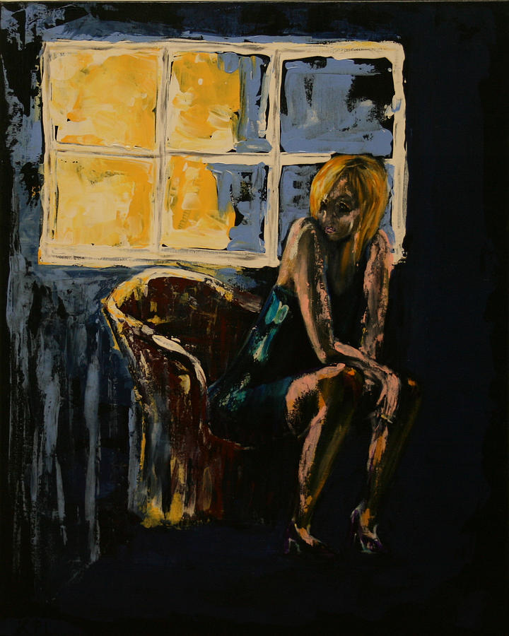 Pretty Girl Sits Alone Painting  - Pretty Girl Sits Alone Fine Art Print