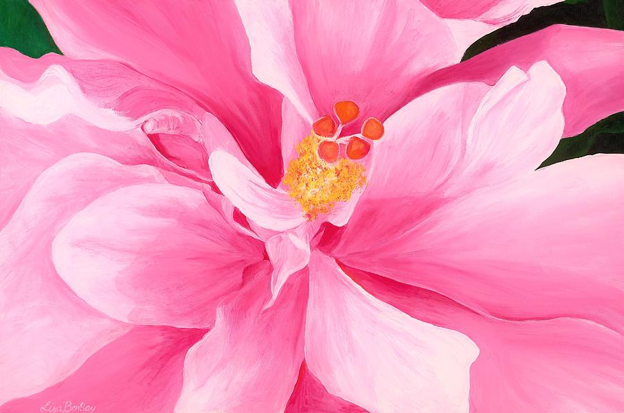 Double Hibiscus Painting - Pretty Pink Hibiscus Painting by Lisa Bentley