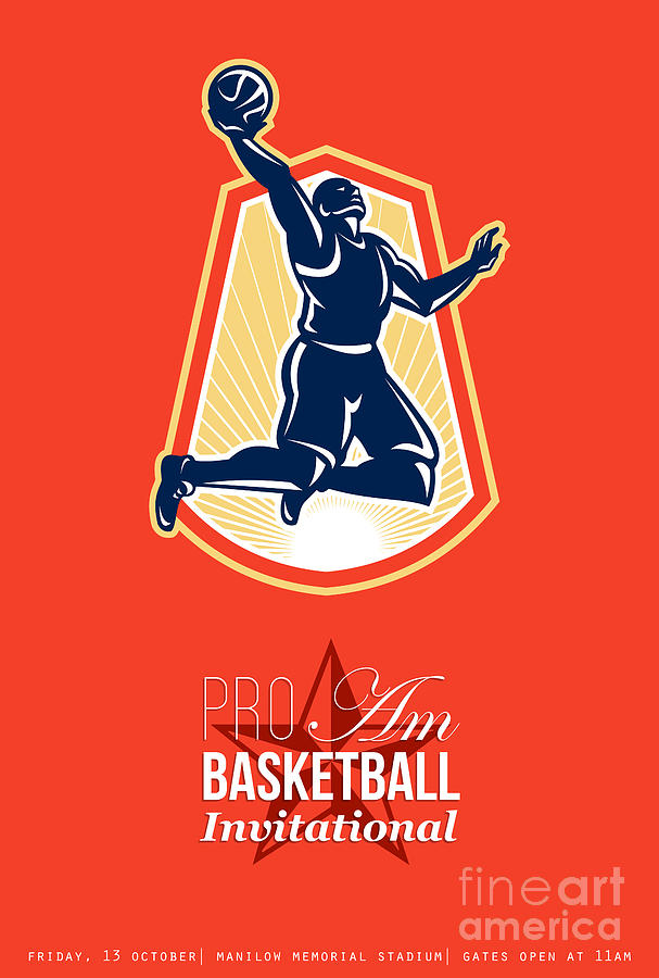Pro Am Basketball Invitational Retro Poster Digital Art