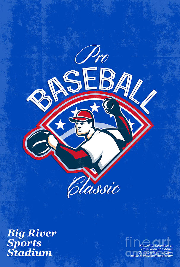 Pro Baseball Classic Tournament Retro Poster Digital Art  - Pro Baseball Classic Tournament Retro Poster Fine Art Print