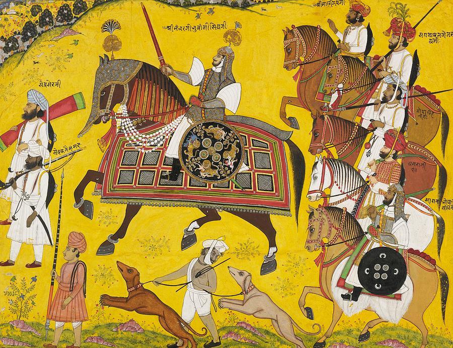 Processional Portrait Of Prince Bhawani Sing Of Sitamau by Pyara Singh