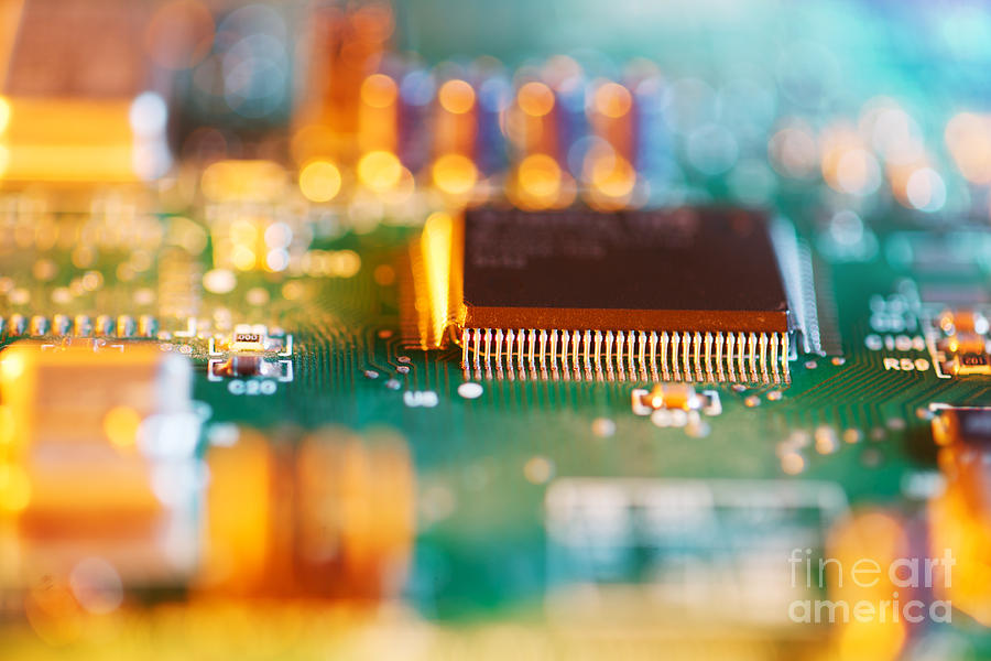 Processor Chip On Circuit Board Photograph