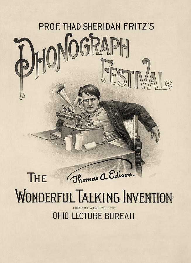 Prof. Thad Sheridan Fritzs Phonograph Festival - Vintage Advertisement From 1890 Drawing