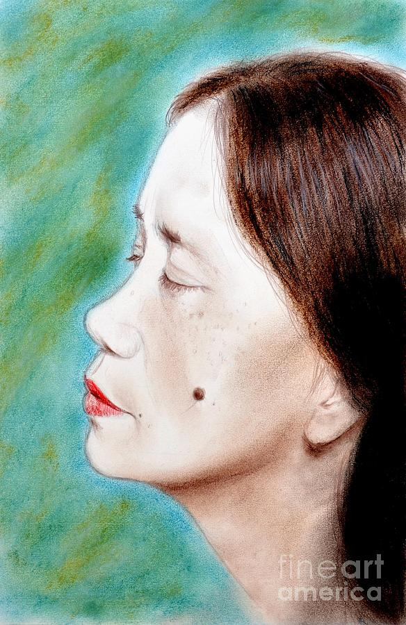 Profile Of A Filipina Beauty With A Mole On Her Cheek Drawing