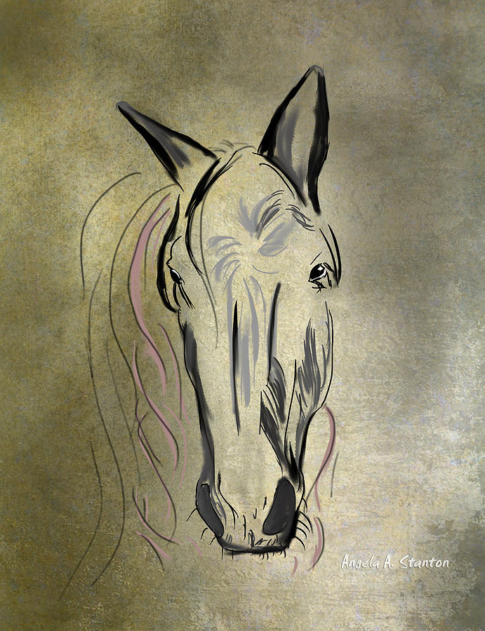 Horse Painting - Profile Of A White Horse by Angela A Stanton