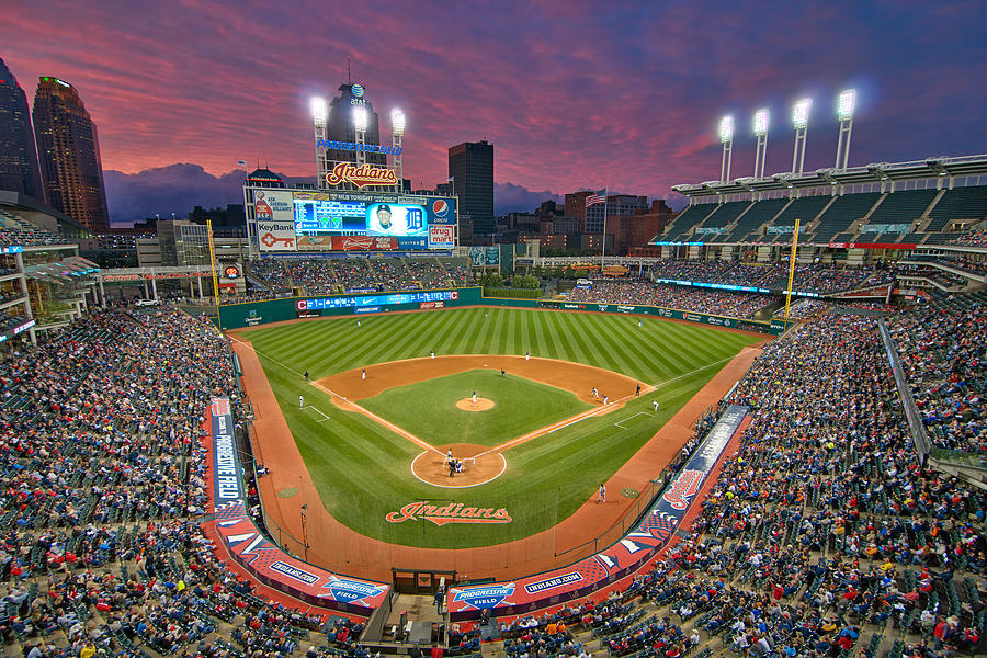 Progressive Field Sunset Photograph  - Progressive Field Sunset Fine Art Print