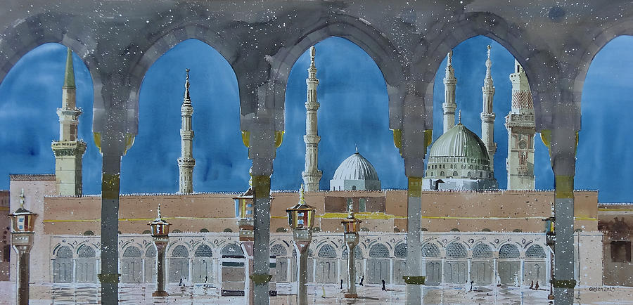 Al-masjid An-nabawi Painting - Prophets Mosque Medina by Martin Giesen