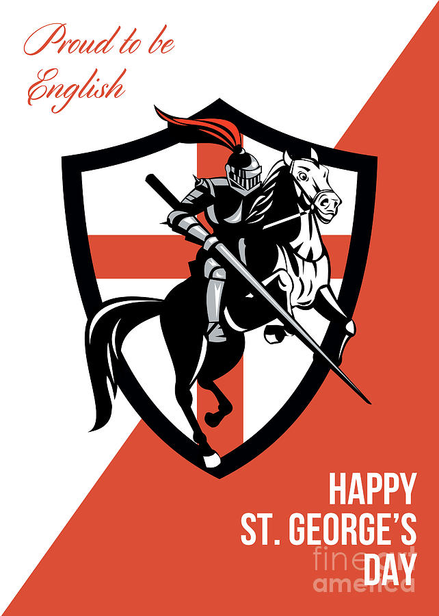 Proud To Be English Happy St George Day Retro Poster Digital Art