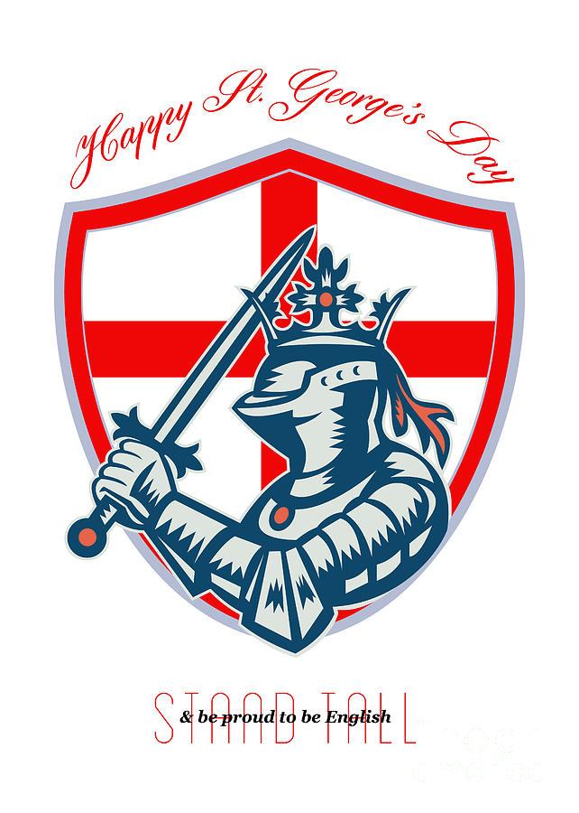 St George Digital Art - Proud To Be English Happy St George Day Shield Card by Aloysius Patrimonio