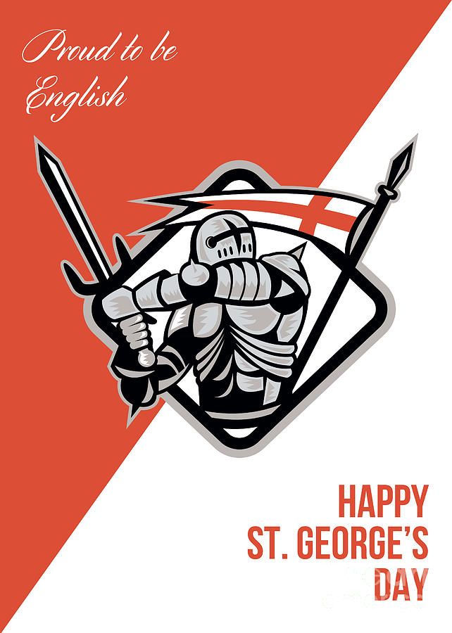 Proud To Be English Happy St George Greeting Card Digital Art