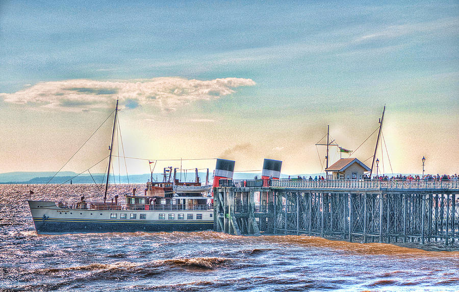The Waverley Paddle Steamer Photograph - Ps Waverley At Penarth Pier by Steve Purnell