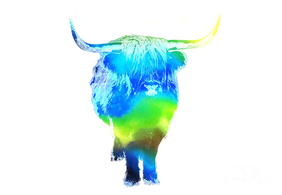 Cow Painting - Psychedelic Bovine #2 by Pixel  Chimp