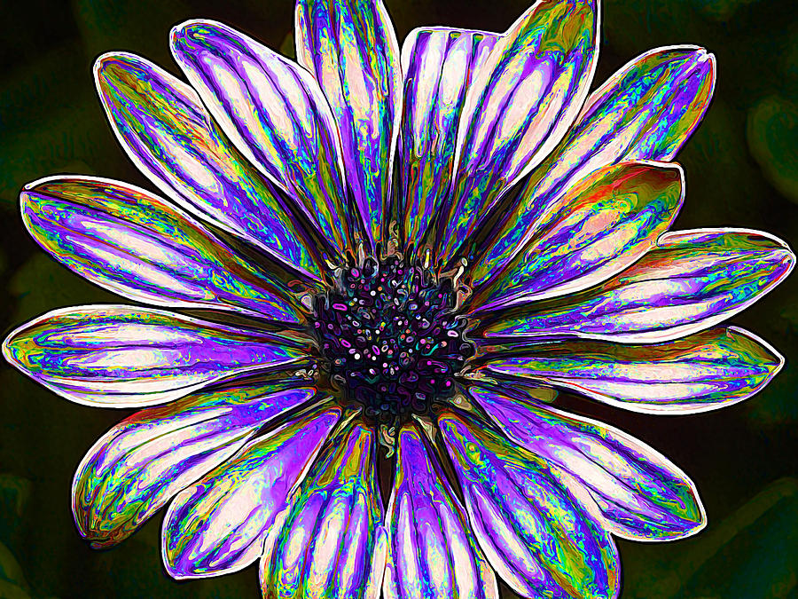 Psychedelic Daisy Digital Art