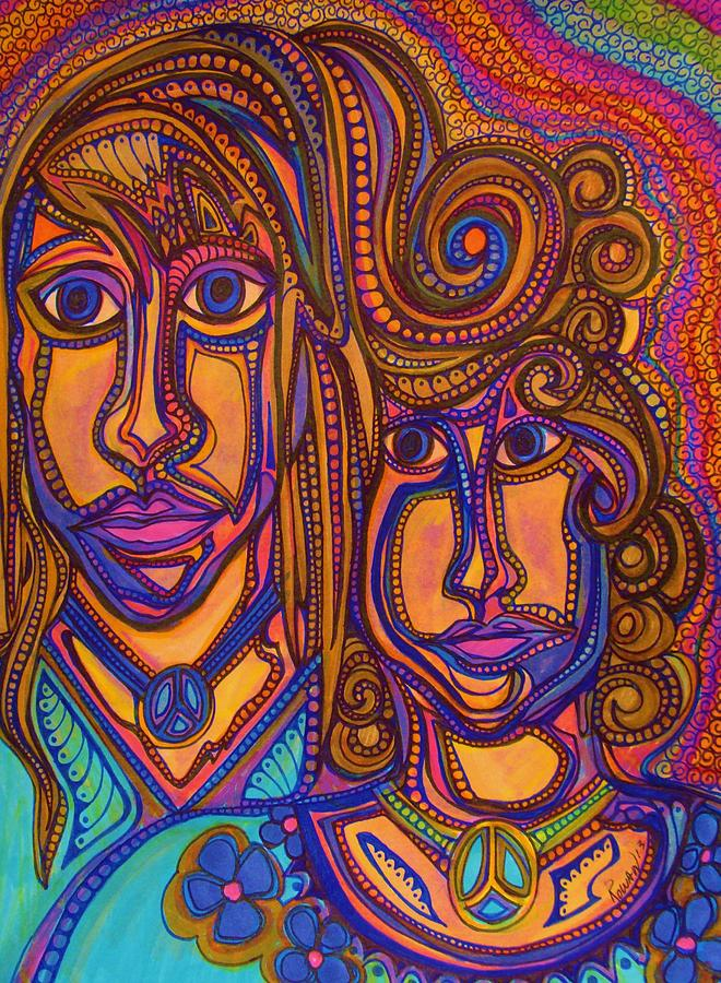 Hippie Esq  Bold Colors.markers Drawing - Psychedelic  Peace Vision by Gerri Rowan