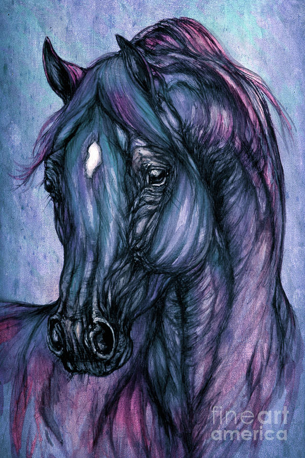 Horse Painting - Psychodelic Deep Blue by Angel  Tarantella