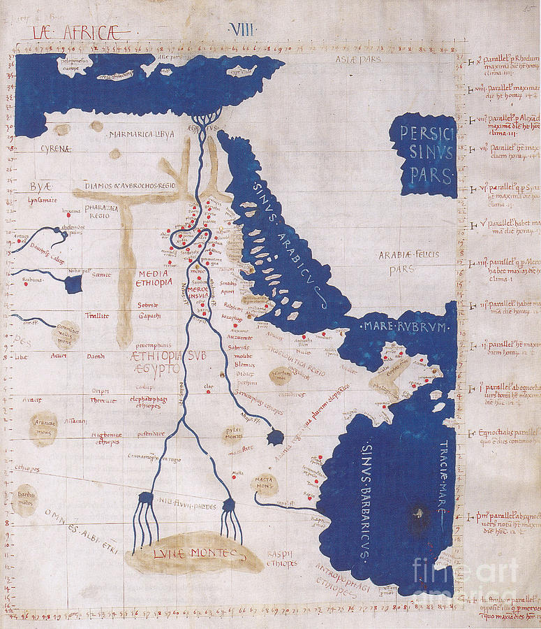 History Photograph - Ptolemys Map Of The Nile 2nd Century by Photo Researchers