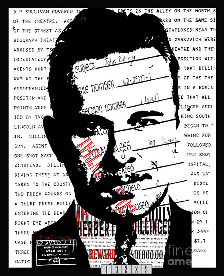John Dillinger Digital Art - Public Enemy Number 1 by Brittany Perez