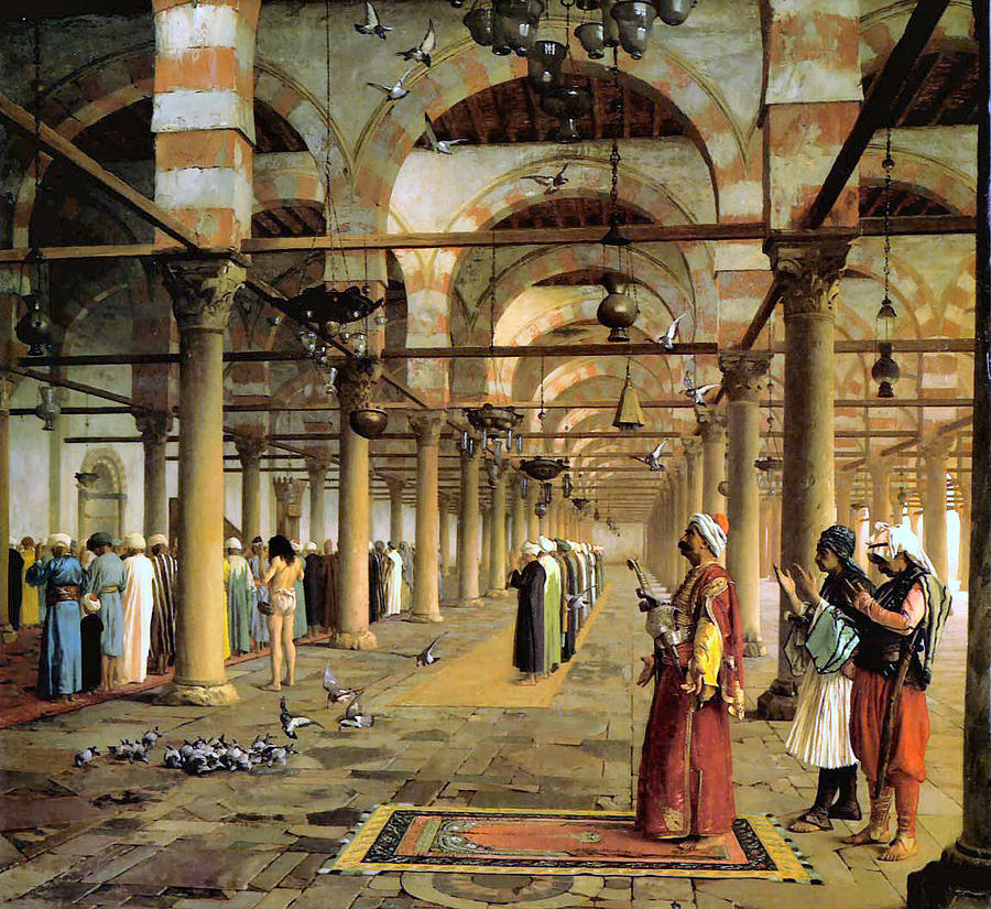 Public Prayer In The Mosque  Digital Art  - Public Prayer In The Mosque  Fine Art Print