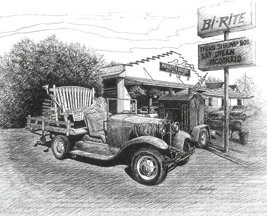 Pucketts Grocery And Restuarant Drawing  - Pucketts Grocery And Restuarant Fine Art Print