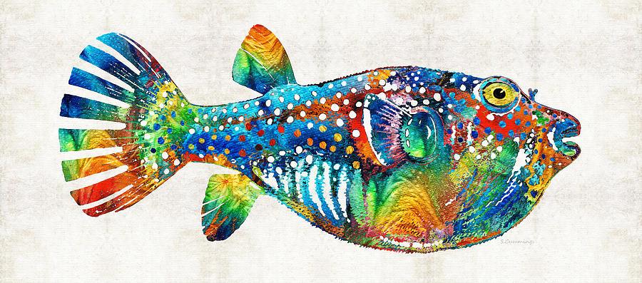 Puffer fish art blow puff by sharon cummings painting for Puffer fish art