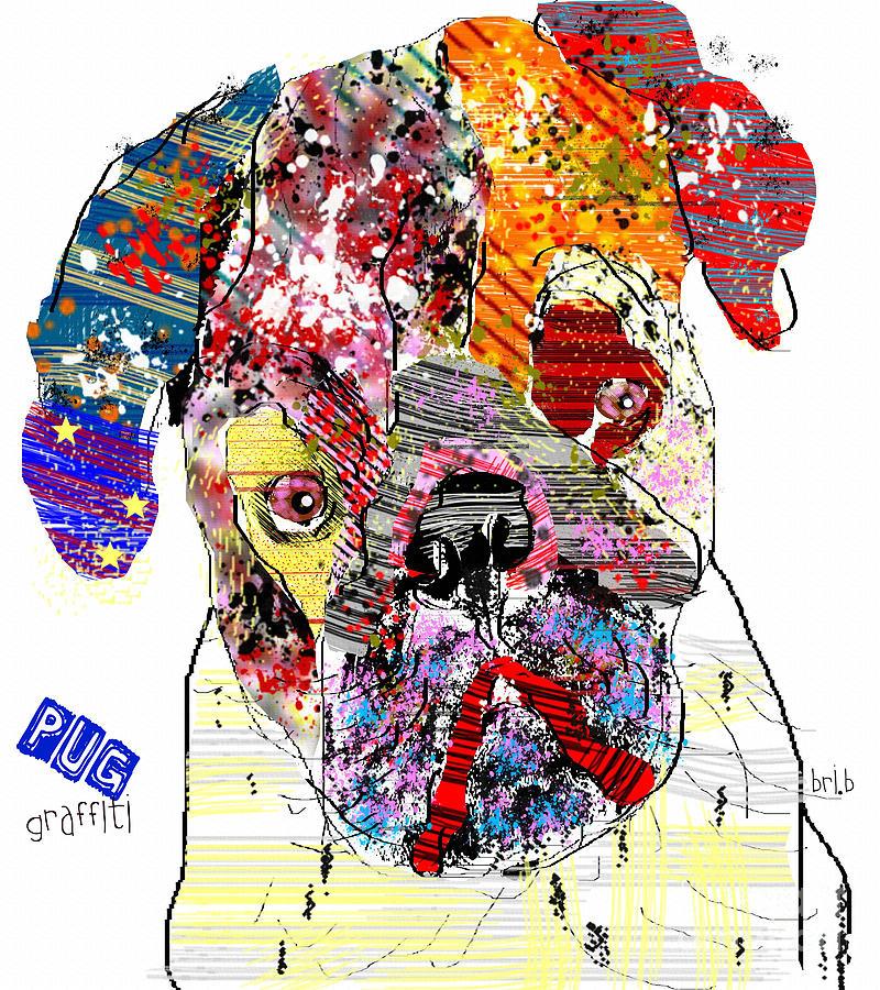 Pug Graffiti Painting