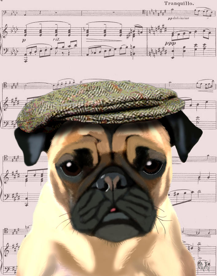 Pug In A Flat Cap Digital Art  - Pug In A Flat Cap Fine Art Print