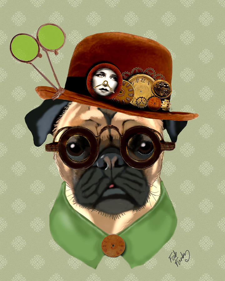 Pug Steampunk In A Bowler Hat Digital Art  - Pug Steampunk In A Bowler Hat Fine Art Print