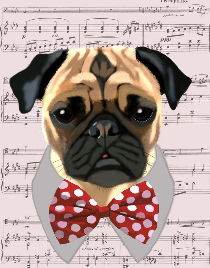 Pug Framed Prints Digital Art - Pug With Bow Tie by Kelly McLaughlan