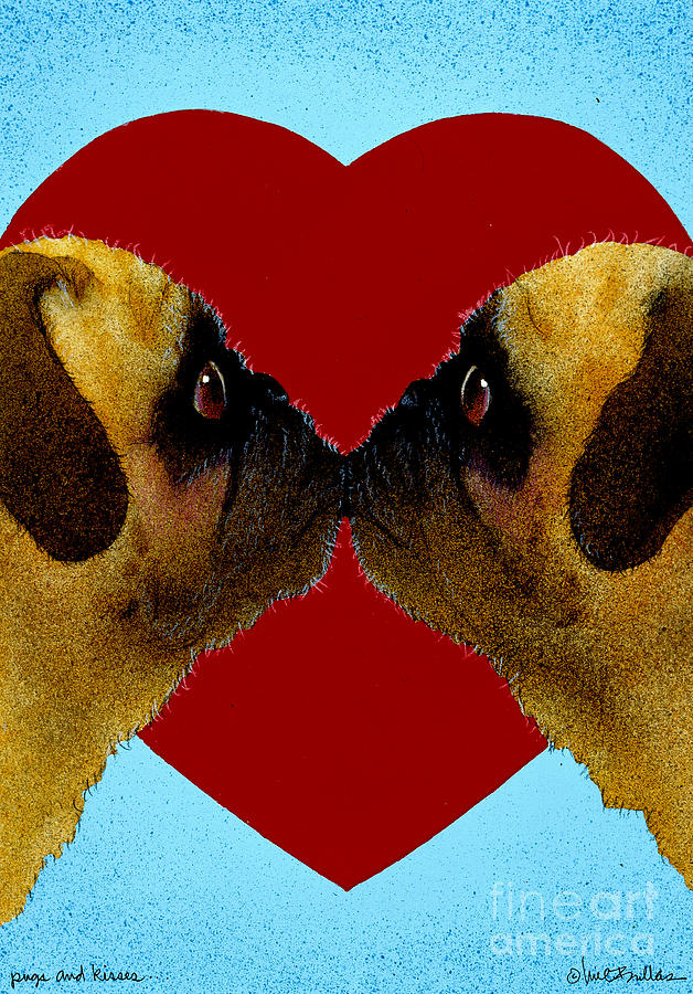 Pugs And Kisses... Painting  - Pugs And Kisses... Fine Art Print