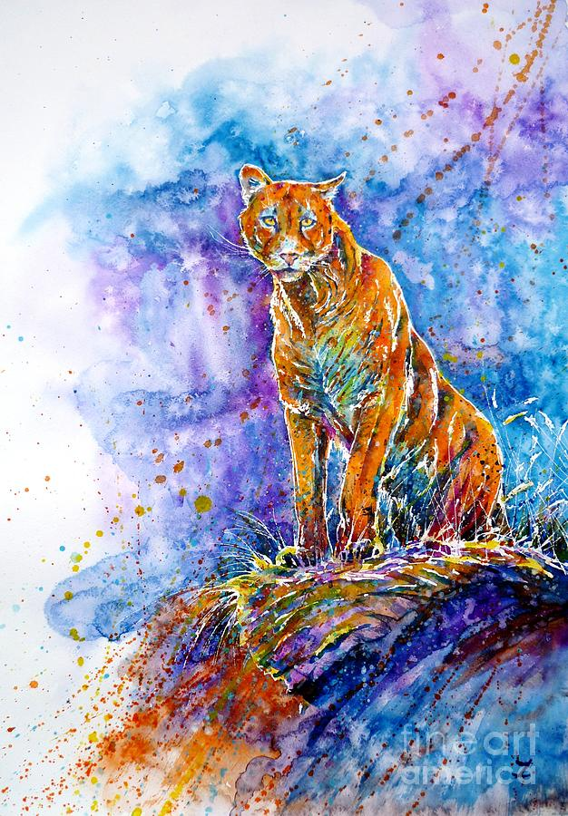 Cougar Painting - Puma. Listening To The Sounds Of The Mountains.  by Zaira Dzhaubaeva